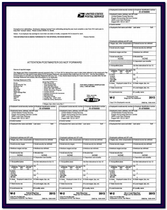 Printable W2 Form For Employees Pdf