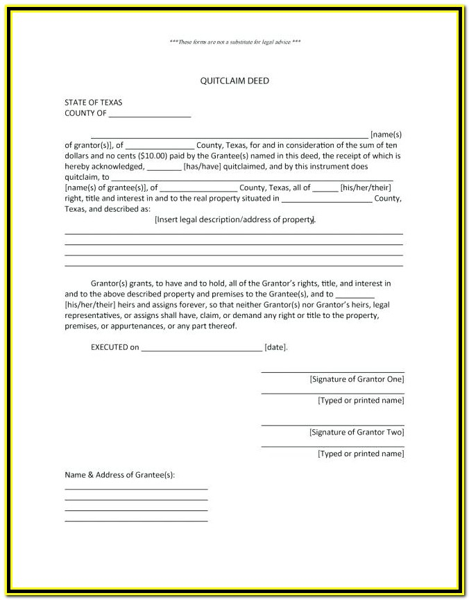 Quit Claim Deed Form Forsyth County Georgia