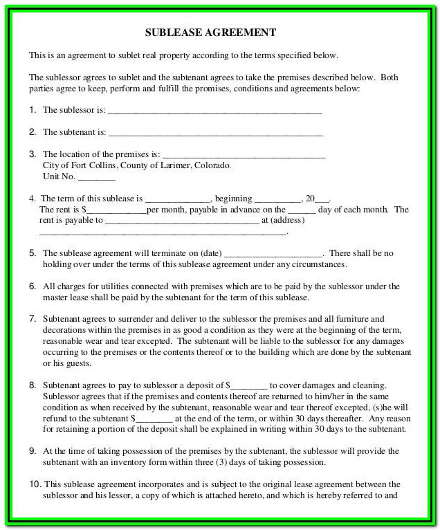 Sublease Agreement Form For Office Space