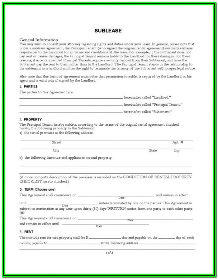 Sublease Agreement Form Ontario