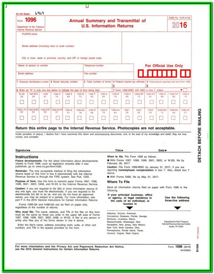 Tax Forms 1099 And 1096
