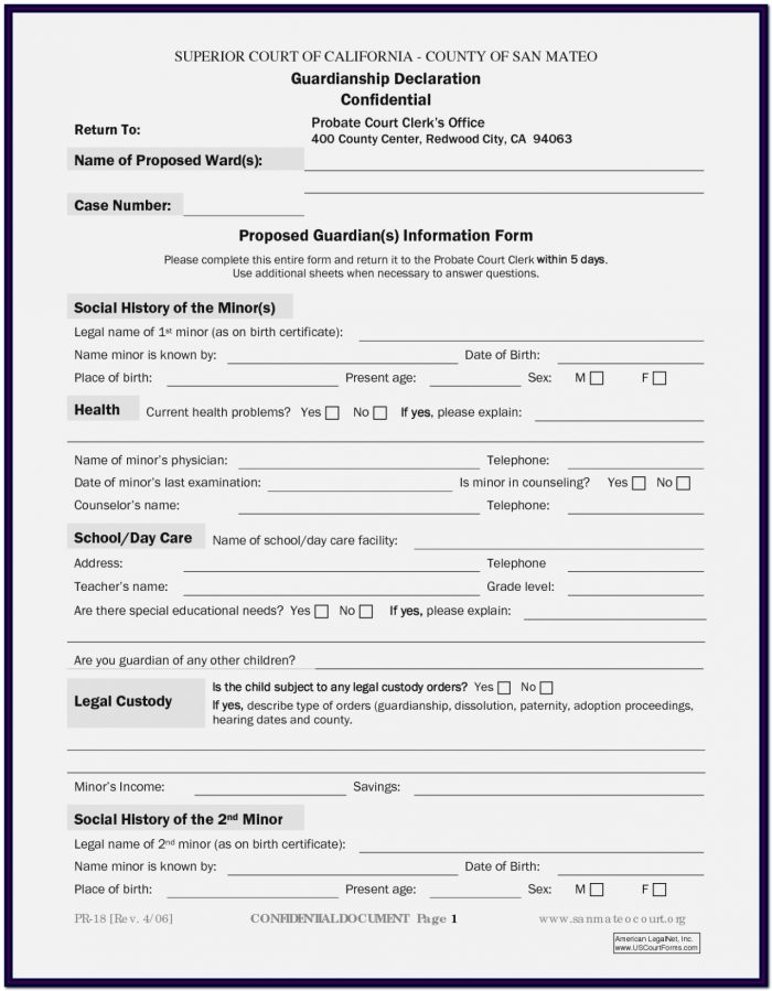 Temporary Guardianship Form California