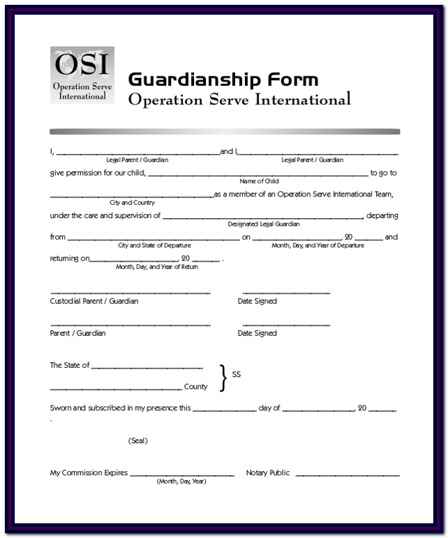 Temporary Guardianship Form Oklahoma