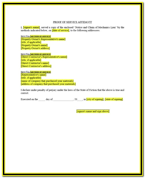 Texas Mechanics Lien Notice Form