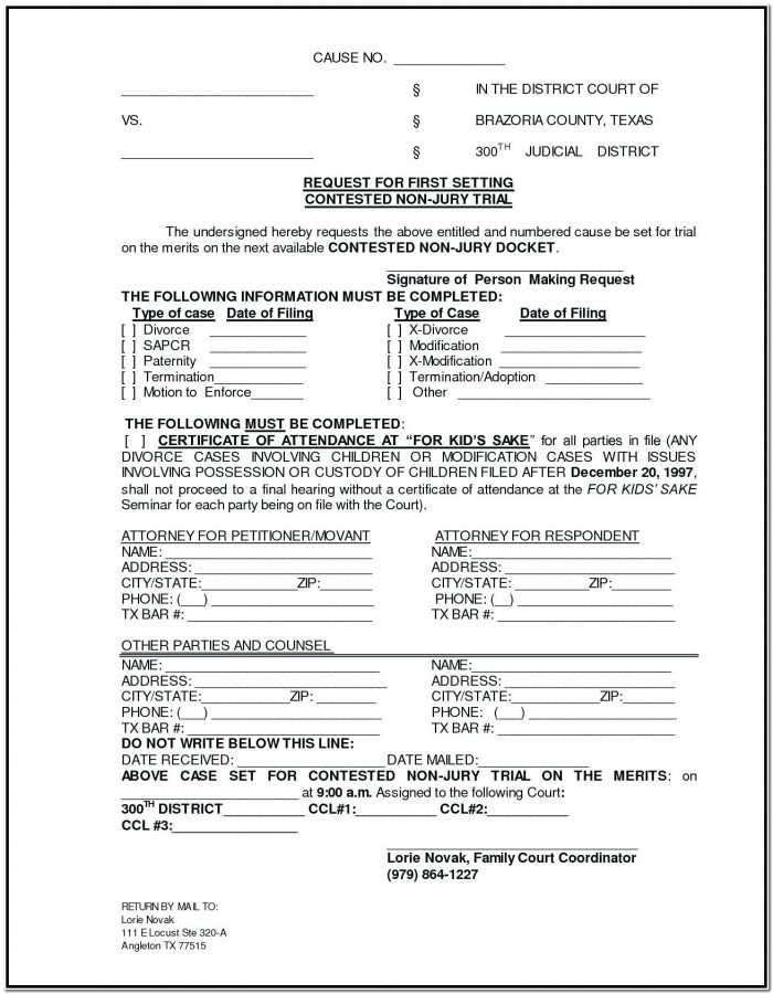 Tn Divorce Forms With Child