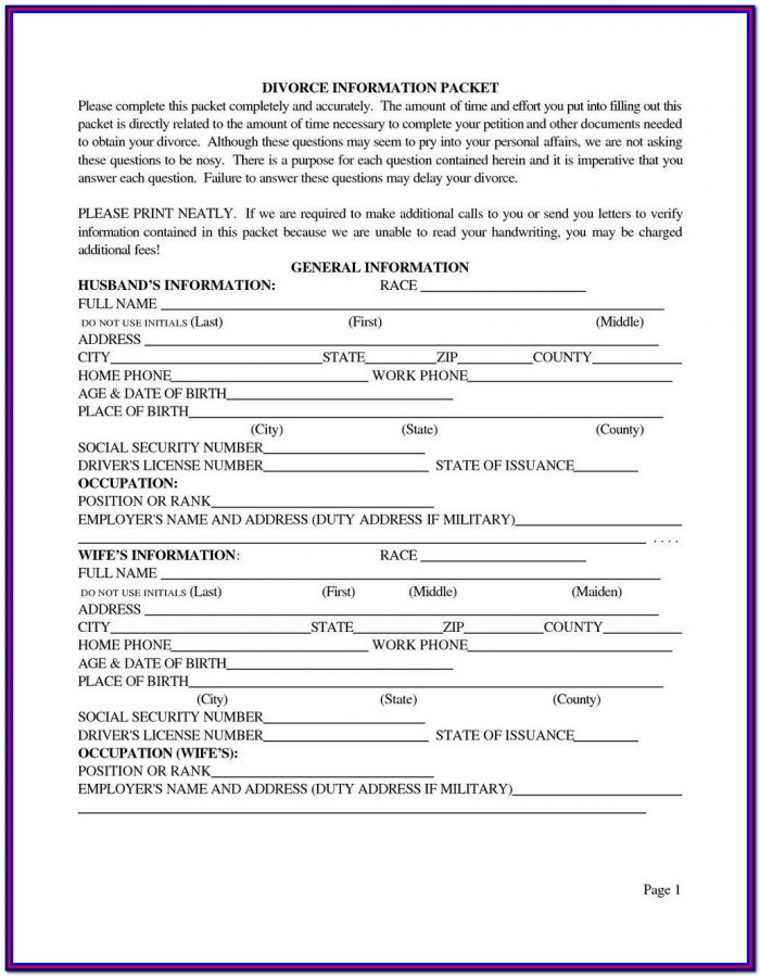 Uncontested Divorce Forms Pdf