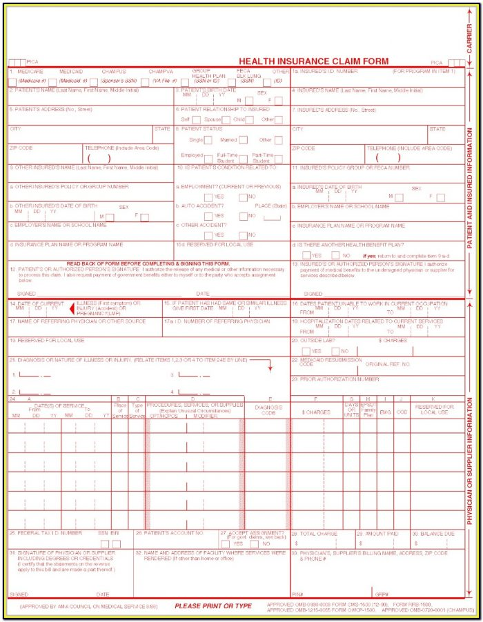 Cms 1500 Claim Form Fillable Free