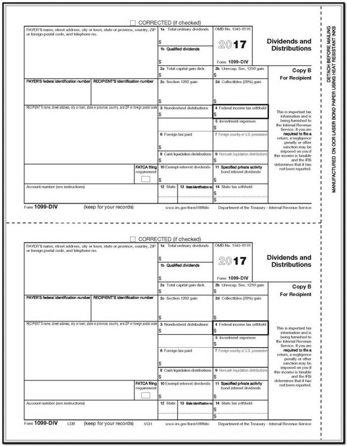 Fillable 1099 Misc Form 2017 Pdf