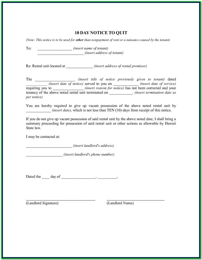 30 Day Eviction Notice Form Pa