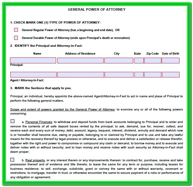 Arizona Power Of Attorney Form 285 Instructions