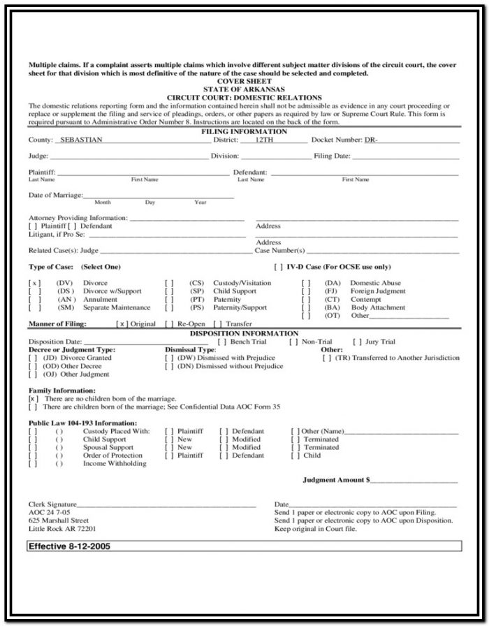 Arkansas Divorce Forms Free