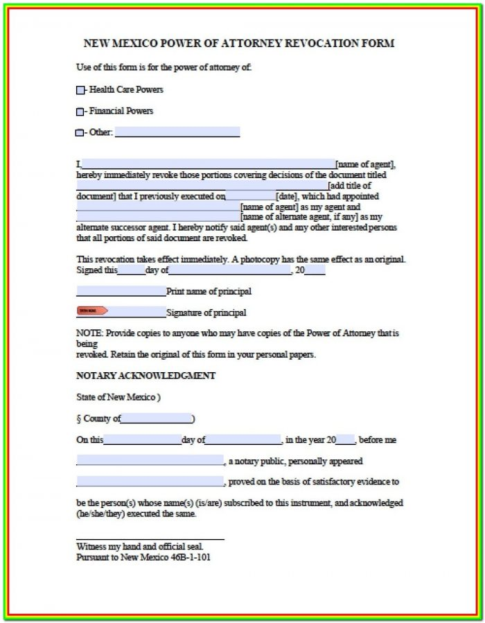 Durable Financial Power Of Attorney Form New Mexico