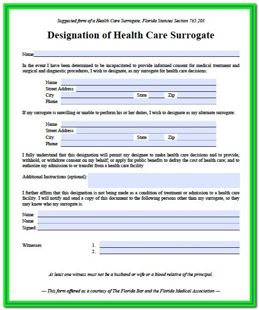Durable Medical Power Of Attorney Form Florida