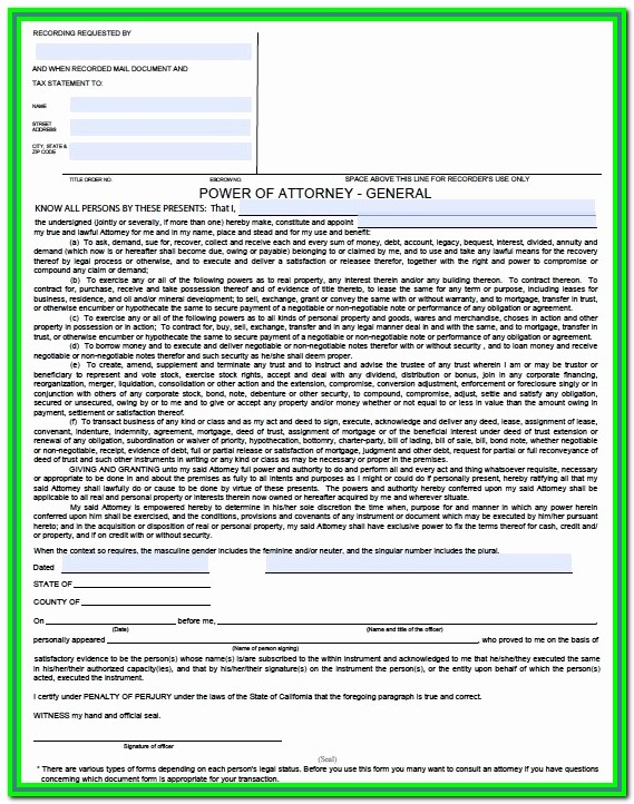 Durable Power Of Attorney California Fillable Form