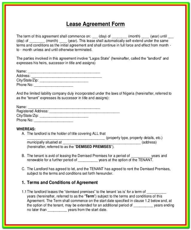 Free Blank Lease Forms