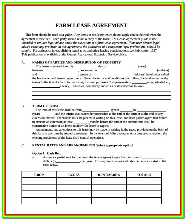 Free Lease Forms For Commercial Property