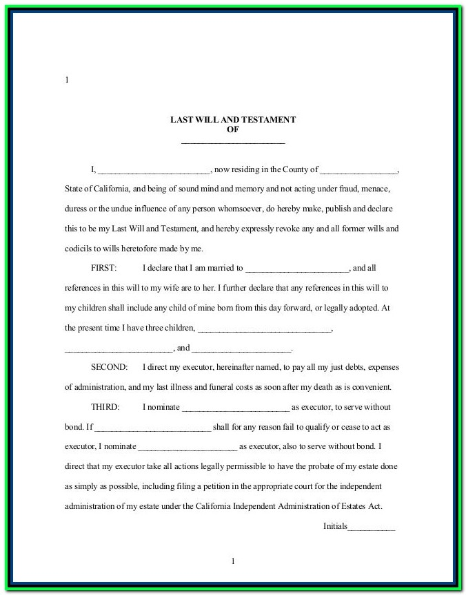 Free Printable Last Will And Testament Forms Australia
