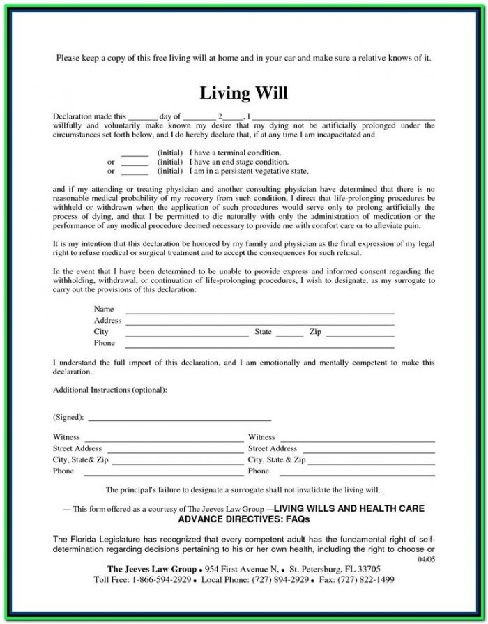 Free Printable Last Will And Testament Forms Ontario