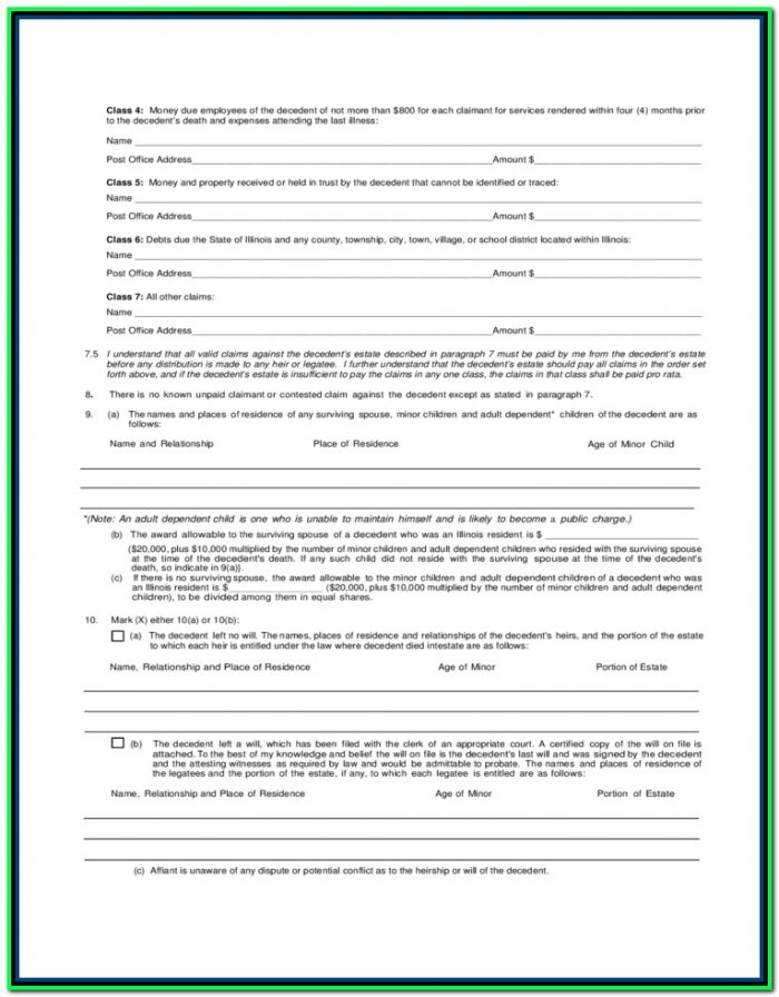 Free Small Estate Affidavit Form Illinois