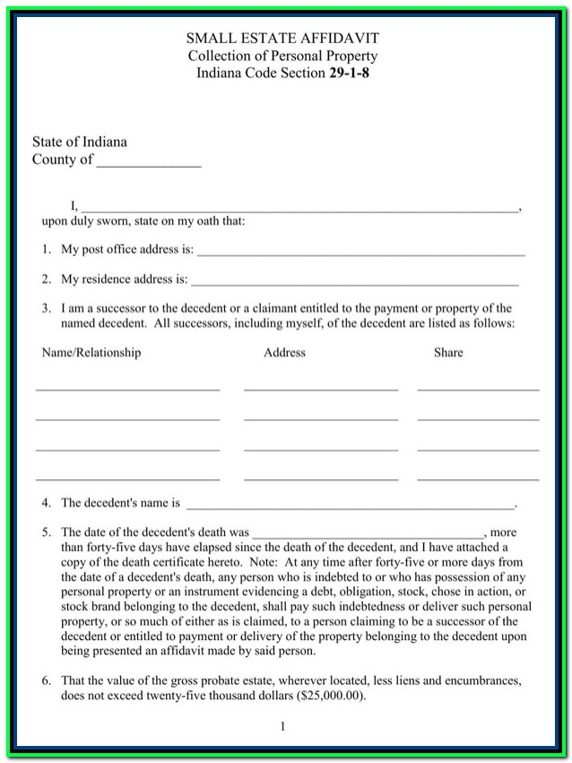 Free Small Estate Affidavit Form Indiana