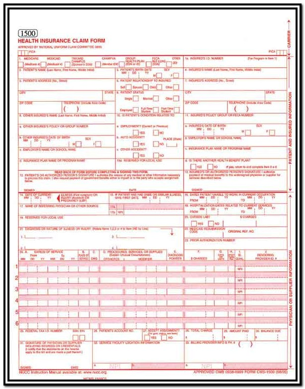 Hcfa Claim Form Example