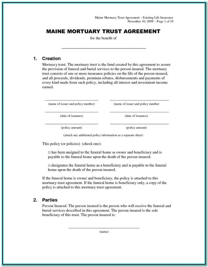 Irrevocable Trust Form North Carolina