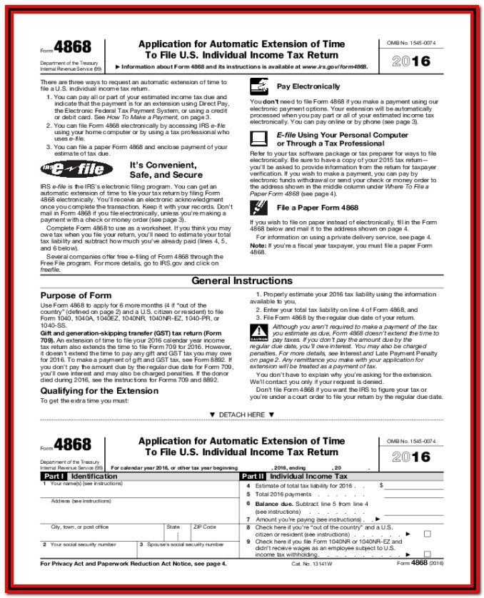 Irs Form 4868 Online Free
