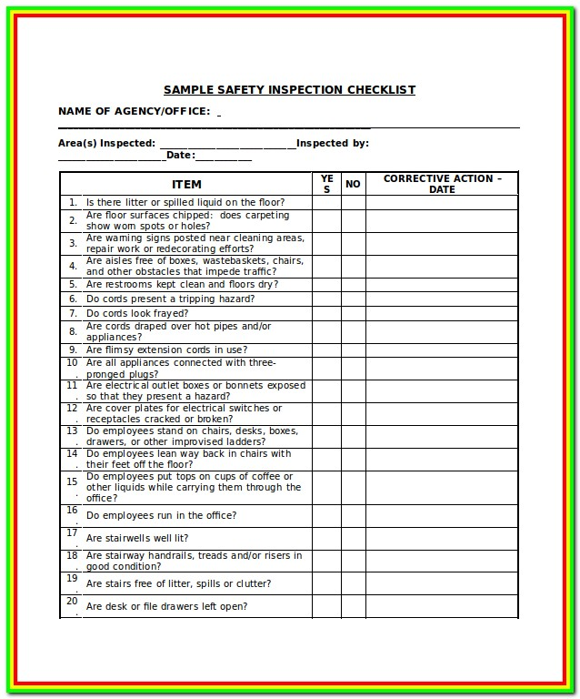 Ladder Inspection Form Word