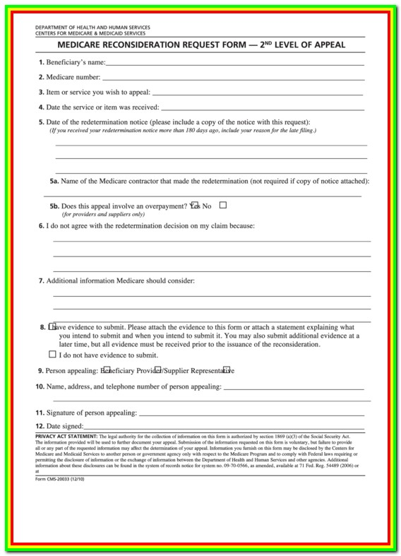 Medicare Part B Redetermination Request Form Level 1