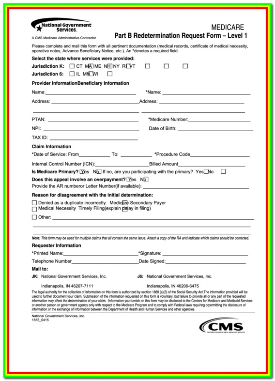 Medicare Part B Redetermination Request Form