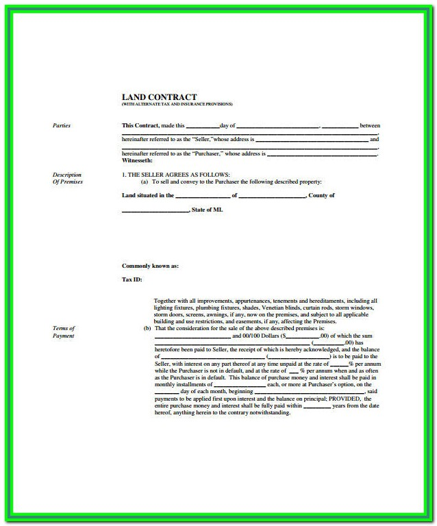 Michigan Land Contract Form Pdf