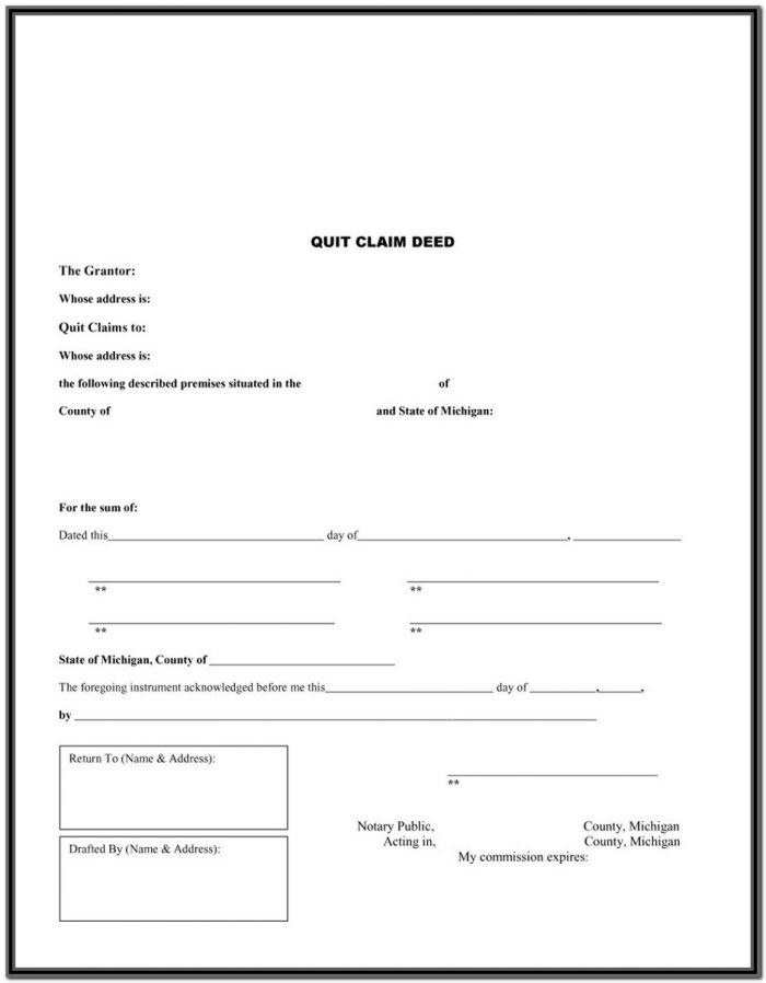 Michigan Quit Claim Deed Template