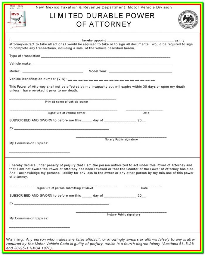 New Mexico Mvd Power Of Attorney Form