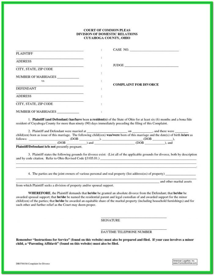 Ohio Divorce Dissolution Forms