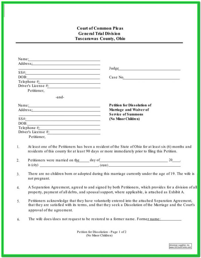 Ohio Divorce Forms Pdf