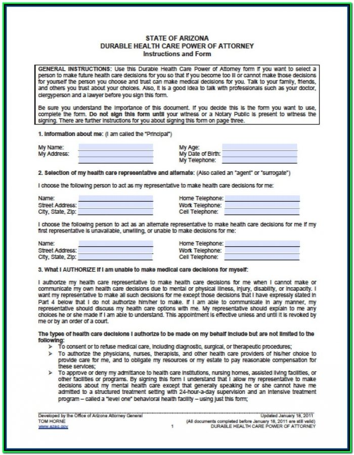 Power Of Attorney Form Arizona Pdf