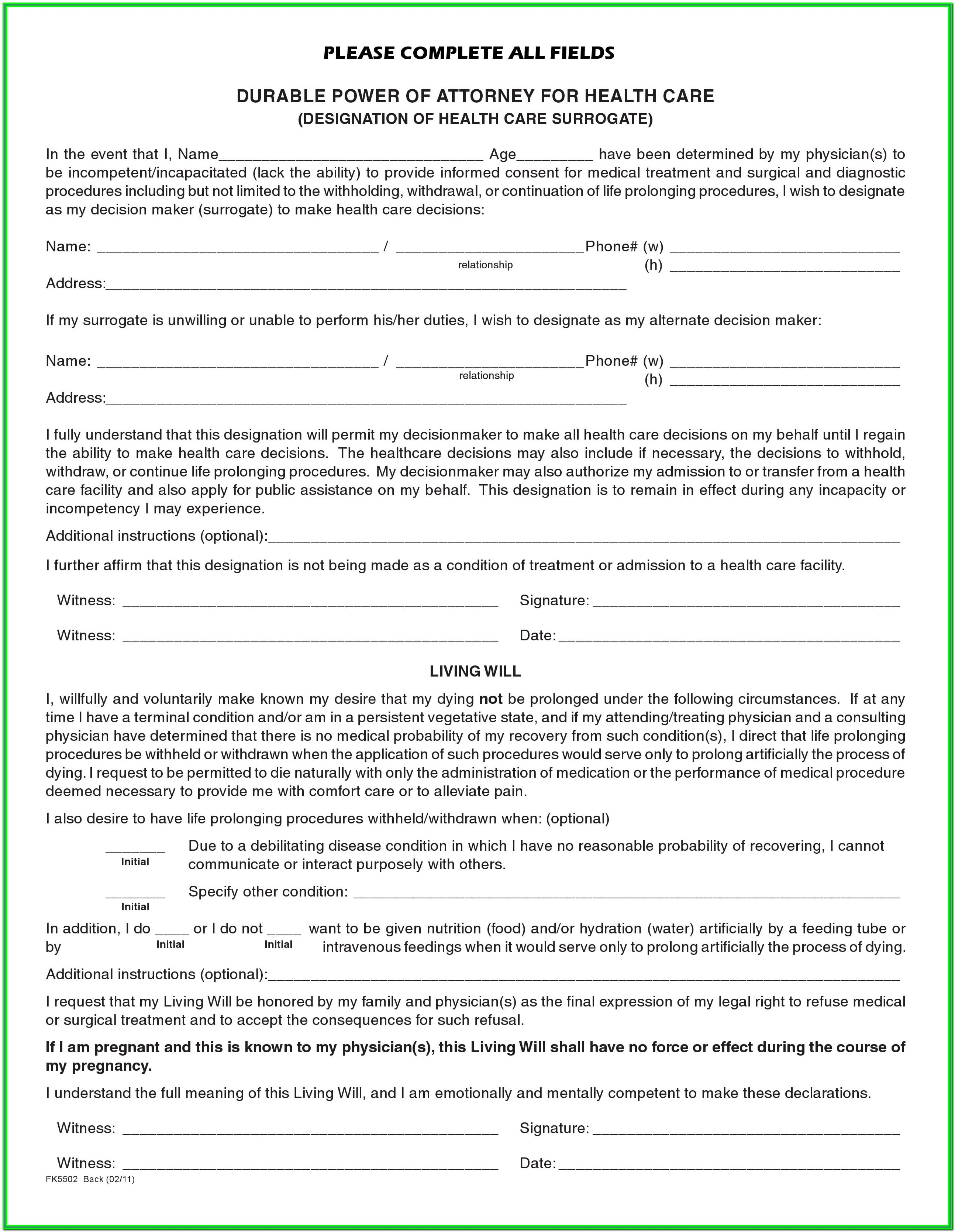 Printable Durable Power Of Attorney Form Florida