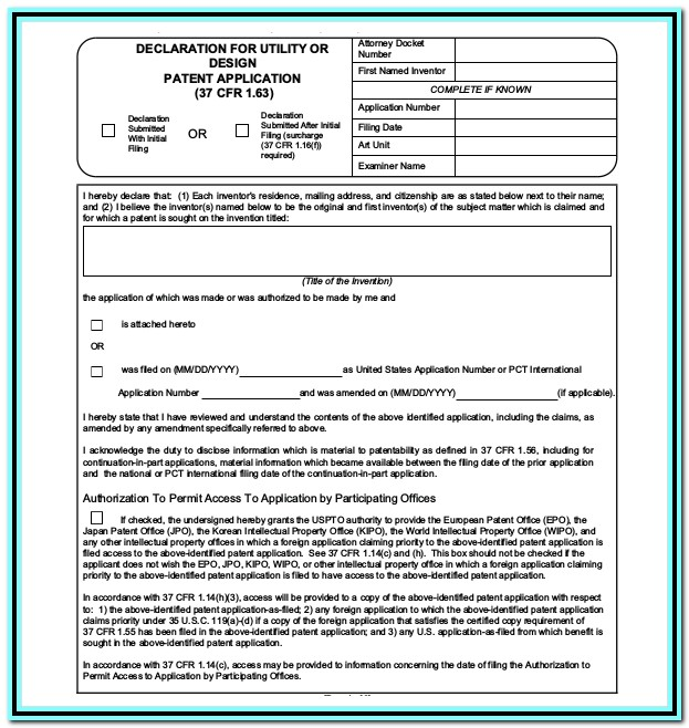 Provisional Patent Application Form Download