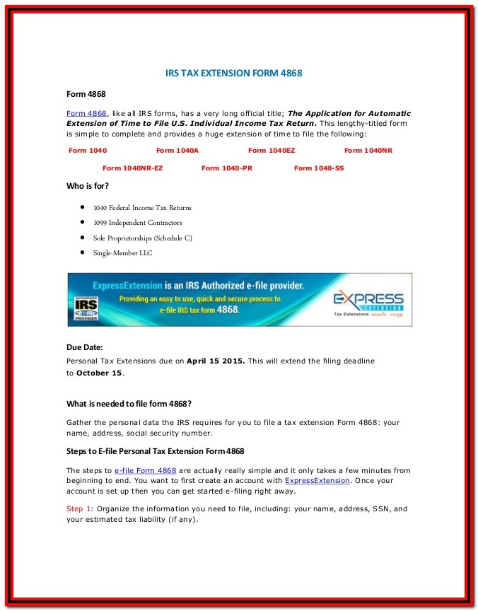 Tax Extension Form 4868 Online