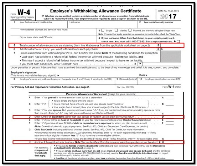 Us Gov Tax Forms W 4
