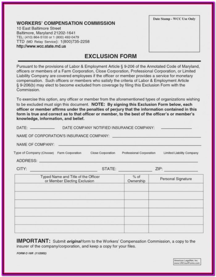 Workers Compensation Waiver Form Arizona