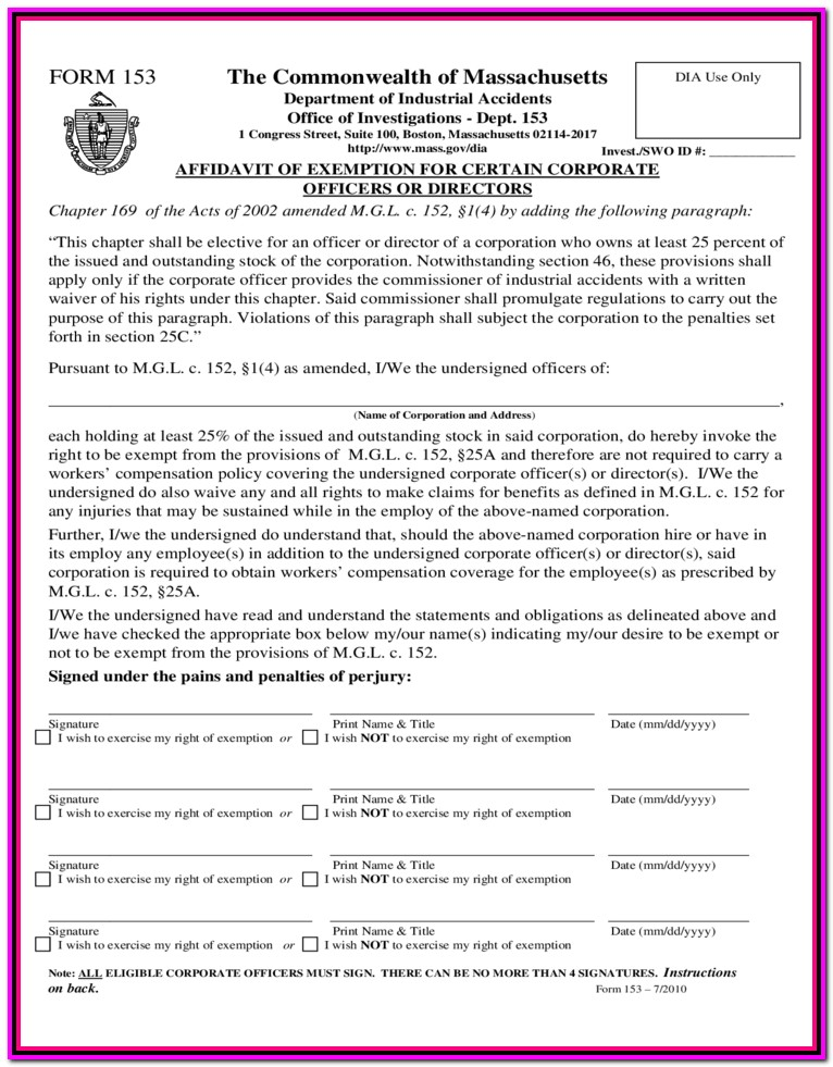 Workers Compensation Waiver Form Colorado