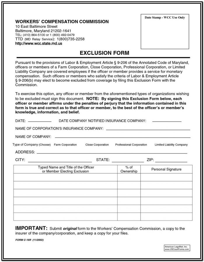 Workmans Comp Exemption Form Montana