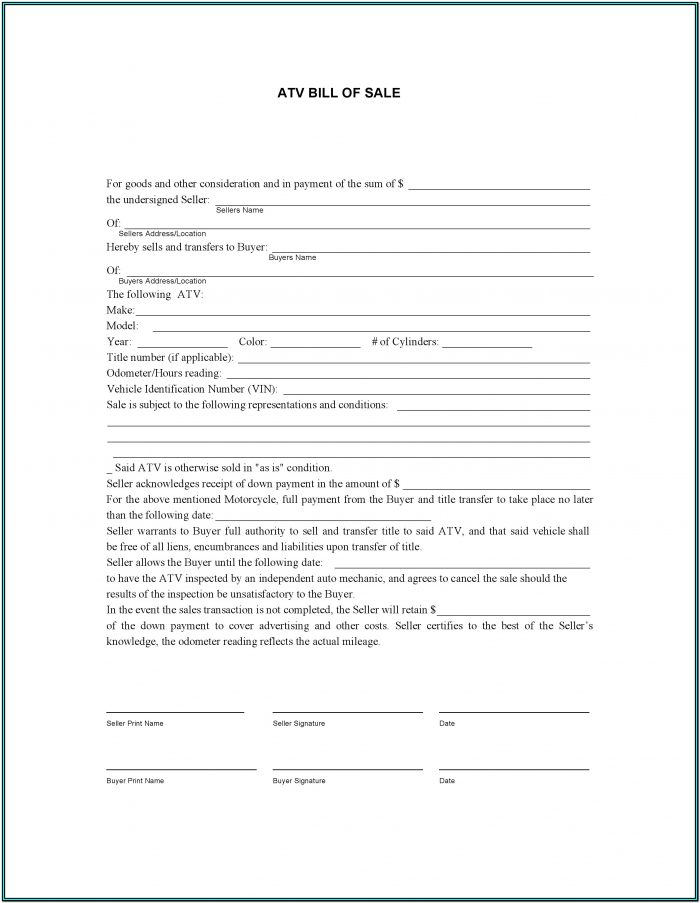 Atv Bill Of Sale Form Texas