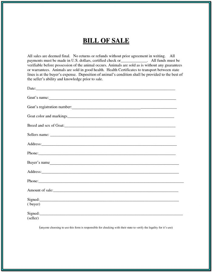 Blank Bill Of Sale Form For Atv