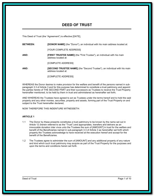 California Note And Deed Of Trust Forms Form Resume