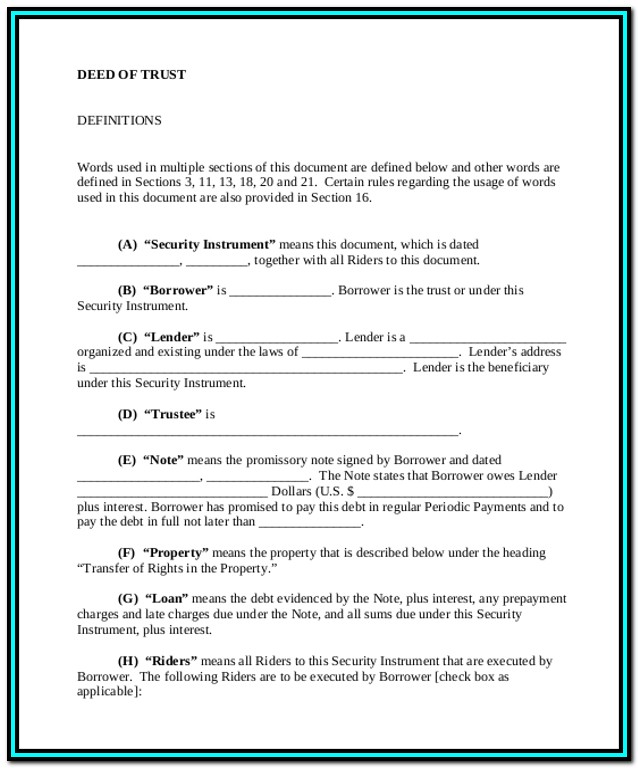 California Second Deed Of Trust Form