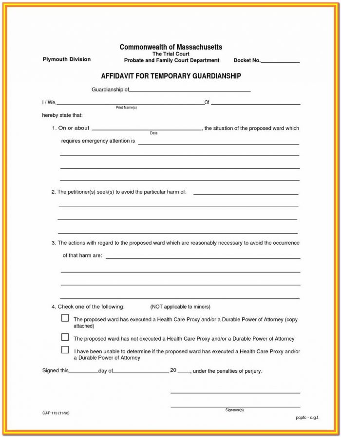 Child Guardianship Forms California
