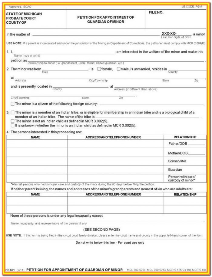 Child Guardianship Forms Michigan