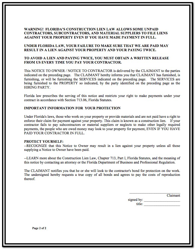 Construction Lien Waiver Form Florida